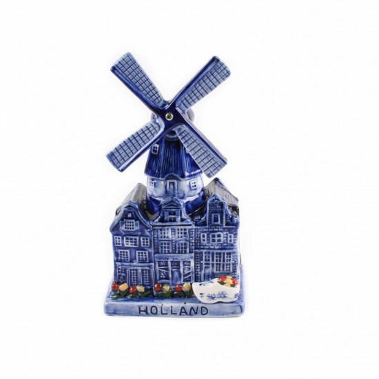 Windmill music delfts blue holland houses tulips clog