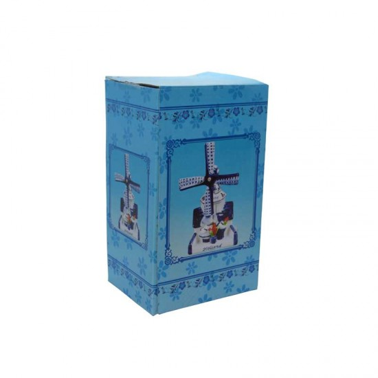 Windmill delft blue holland kissing couple tulips 14.5 cm