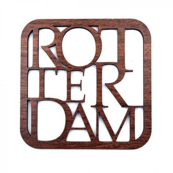 Onderzetter rotterdam letters hout