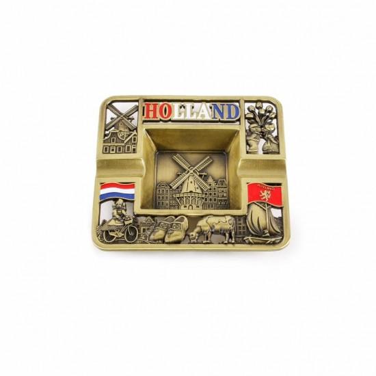 Metalen Asbak Holland compilatie brons
