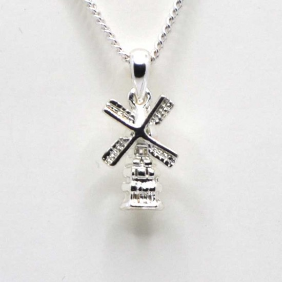 Necklace silver plated windmill rotating wings
