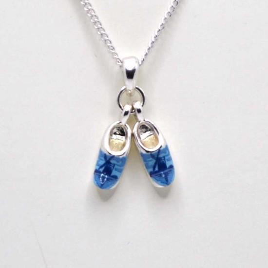 Necklace pair silver clogs delft blue