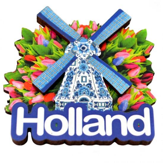 Magnet mdf holland windmuhle tulpen