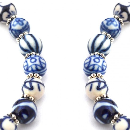 Necklace delft blue beads hand made long