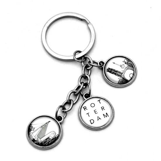 Schlüsselanhänger rotterdam charms schwarz und weiß