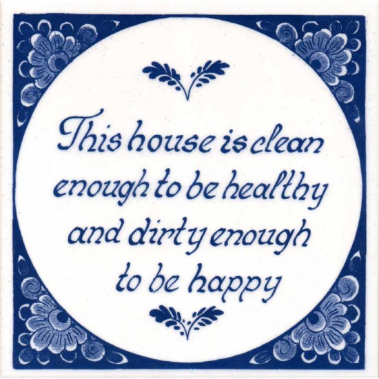 TILE DELFT BLUE SAYING CLEAN 15 x 15 CM
