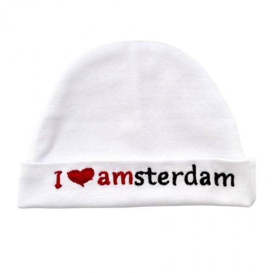 Baby mutsje I love Amsterdam