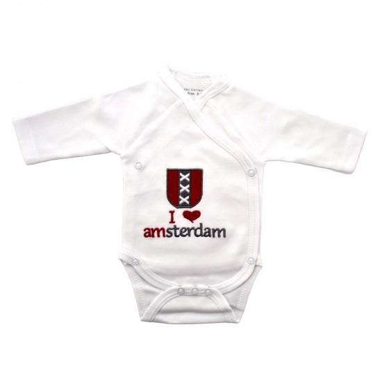 Baby romper I love Amsterdam kruizen lange mouwen