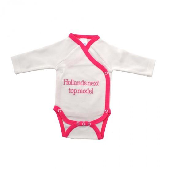 Baby romper Hollands next top model fuchsia lange mouwen