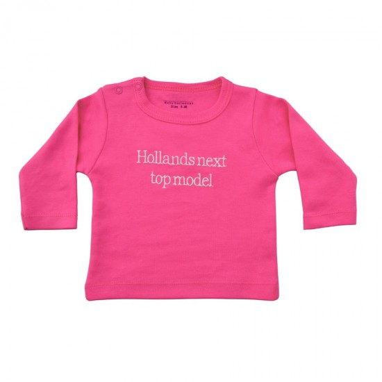 Fuchsia baby shirt Hollands next top model geborduurd