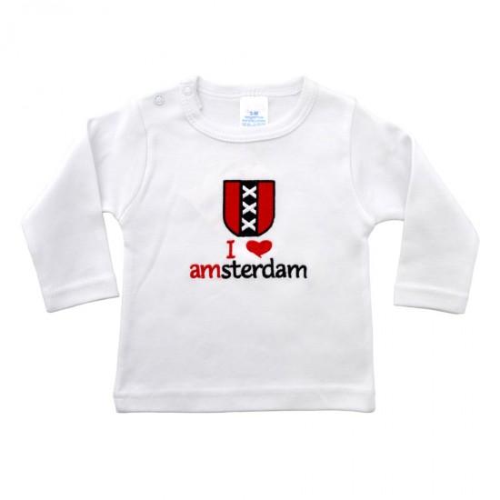Baby shirt I love Amsterdam kruizen logo