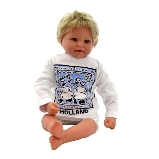 Baby T-Shirt Kuh Holland Delft blaue Fliese