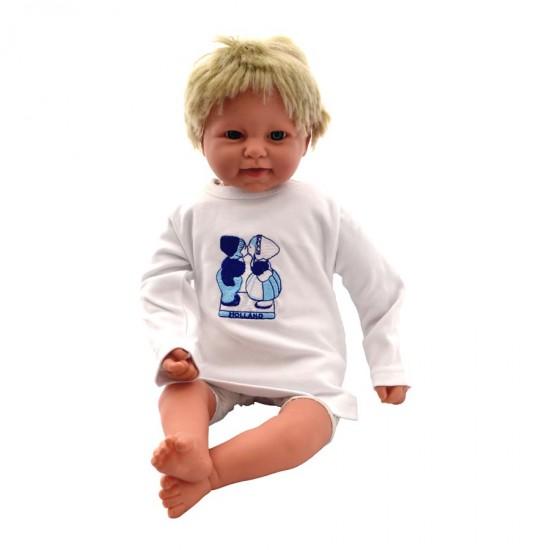 Baby shirt lange mouwen kussend paar delfts blauw