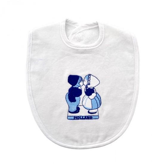 Baby slabbetje kussend paar Holland Delfts blauw