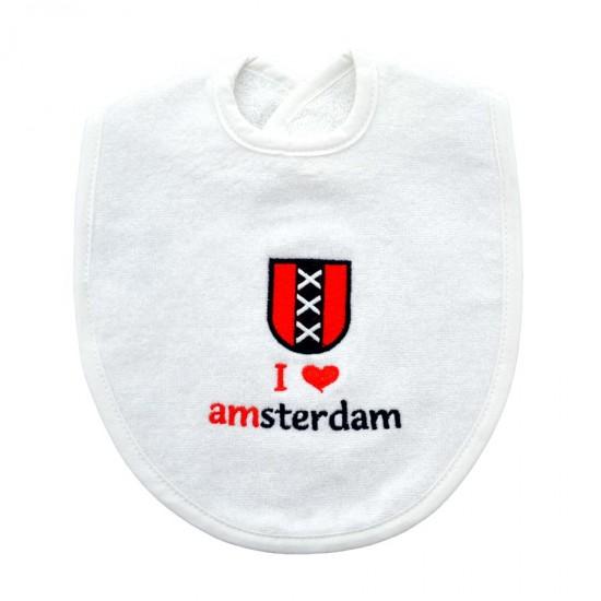 Baby slabbetje I love Amsterdam kruizen