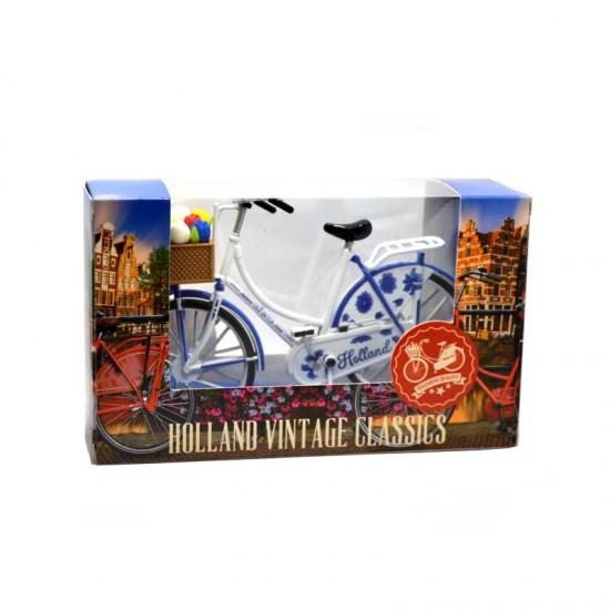 Miniatur fahrrad holland delft blaue tulpen