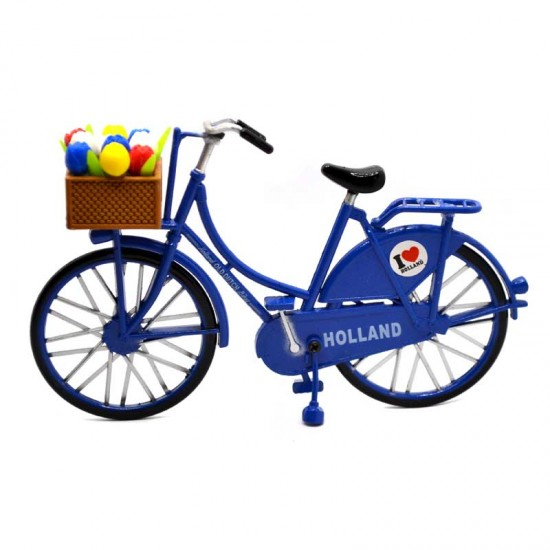 Miniature bicycle I love Holland blue with tulips in basket