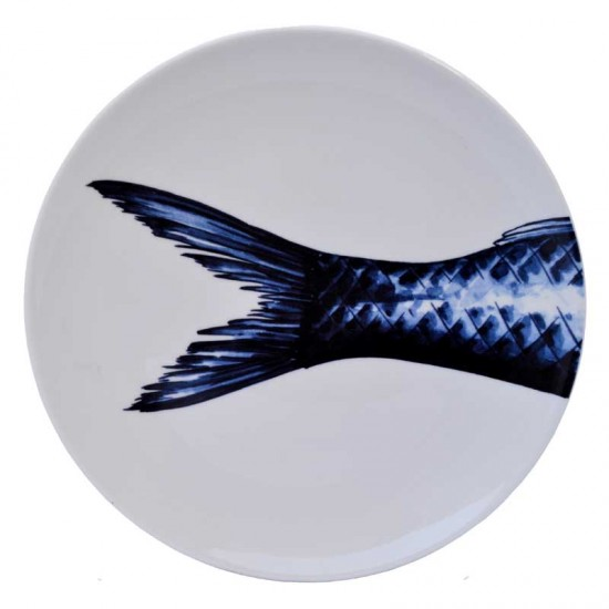 Wall plate delft blue fisch three piece