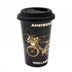 COFFEE2GO THERMO MUG AMSTERDAM GOLD BICYCLE