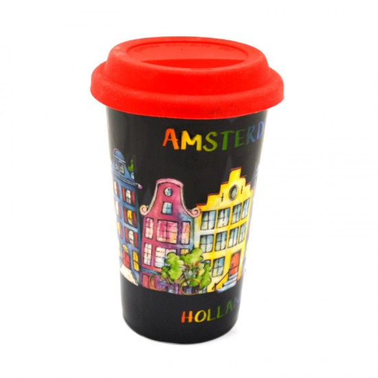 COFFEE2GO THERMO MUG AMSTERDAM HOLLAND CANAL HOUSES KLEUR