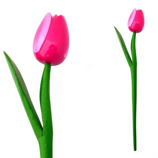 WOODEN TULIP WITH HALM 36 CM PINK WHITE