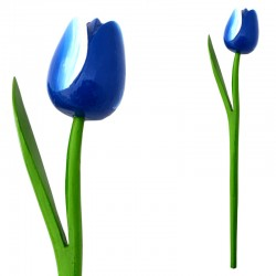 WOODEN TULIP WITH HALM WHITE BLUE N