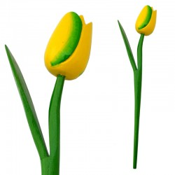WOODEN TULIP WITH HALM YELLOW GREEN N