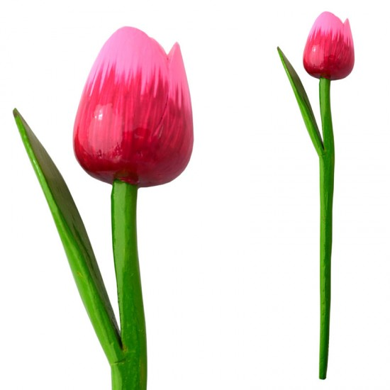 WOODEN TULIP WITH HALM PINK SOFT PINK N