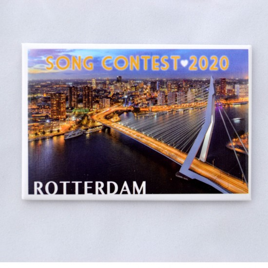 FRIDGE MAGNET ROTTERDAM SONG CONTEST 2020 ERASMUS BRIDGE SKYLINE