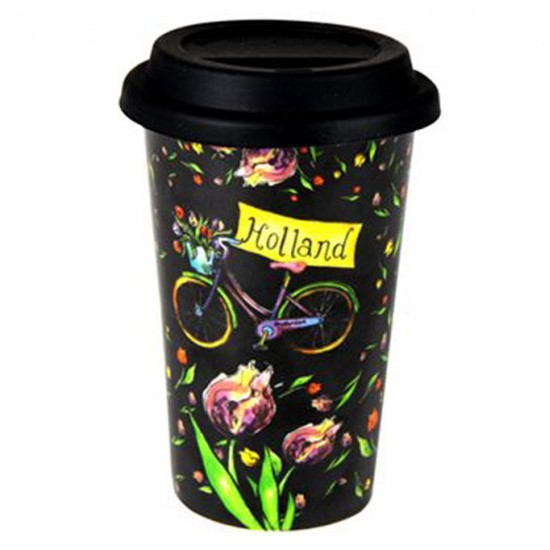 COFFEE TO GO THERMO MUG COLORED TULIPS BICYCLE HOLLAND