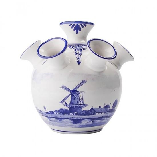 Tulip vase delft blue 7 arms windmill