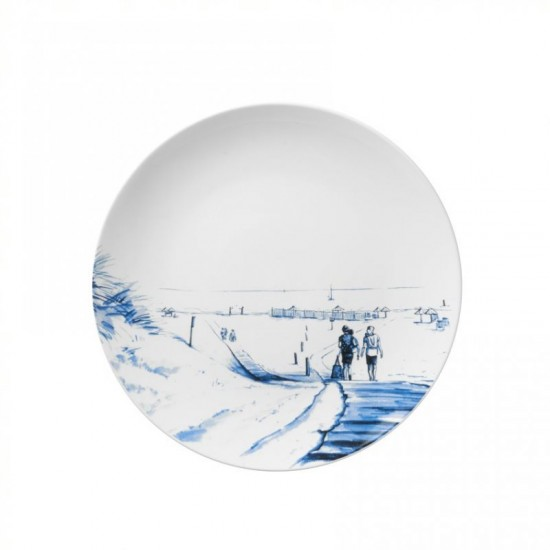 Delft blue wall plate vintage beach