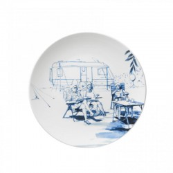 DELFT BLUE WALL PLATE VINTAGE CAMPING