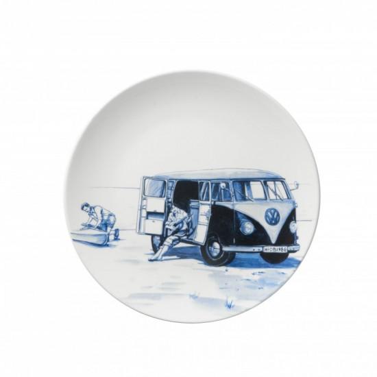 Delft blue wall plate vintage volkswagen van