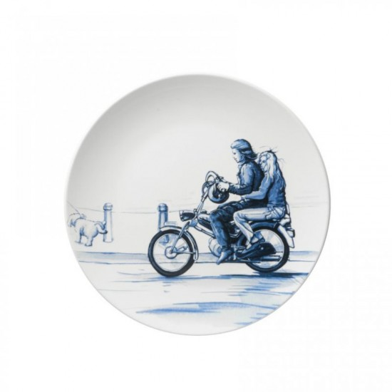 WALL PLATE DELFT BLUE PUCH MOPED