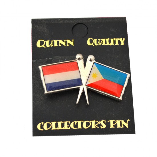 DUO COUNTRY FLAG PIN NETHERLANDS PHILIPPINES