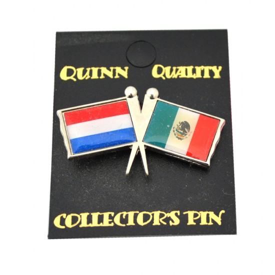 Duo landen vlaggen pin nederland mexico