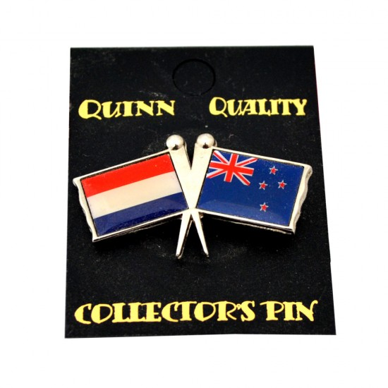DUO COUNTRY FLAG PIN NETHERLANDS NEW ZEALAND