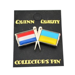 DUO COUNTRY FLAG PIN NETHERLANDS UKRAINE
