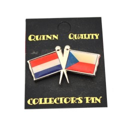 DUO COUNTRY FLAG PIN NETHERLANDS CZECH REBUBLIC