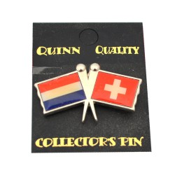 DUO COUNTRY FLAG PIN NETHERLANDS SWITZERLAND