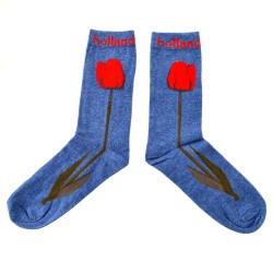 SOCKS BLUE HOLLAND RED TULIPS
