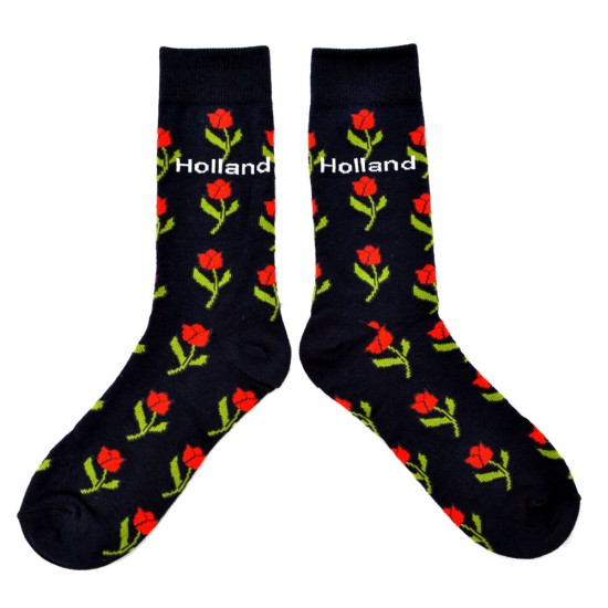 SOCKS DARK BLUE TULIPS RED HOLLAND