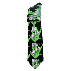 TIE SILK BLACK BOUQUET GRAY TULIPS GREEN LEAVES