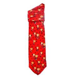 TIE SILK RED SPRING TULIPS YELLOW