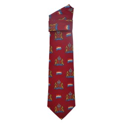 TIE SILK AMSTERDAM CITY LOGO DARK RED