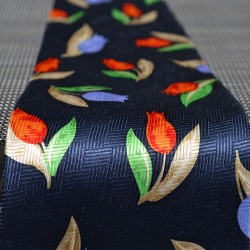 TIE SILK BLUE DECO TULIPS BLUE ORANGE