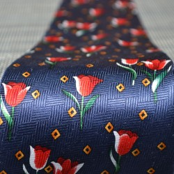 TIE SILK MARINE BLUE RED SPRING TULIPS