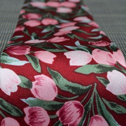 TIE SILK BORDEAUX TULIPS PINK