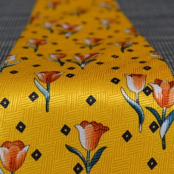 TIE SILK YELLOW SPRING TULIPS ORANGE